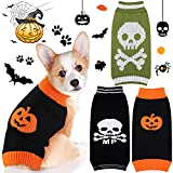 3 Pieces Halloween Dog Sweater Warm Pumpkin Skull Dog Sweater Autumn Winter Pet Clothes Apparel for Small Dog and Cat Halloween Holiday Party (Medium)