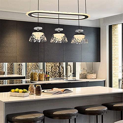 FGVBC Candelabro LED Moderno para Comedor, candelabro acrílico LED Simple nórdico Ligero Consiste en 1 candelabro de Anillo y 3 Colgantes atenuación Tricolor para Restaurante, Cocina, Bar, C, 110V