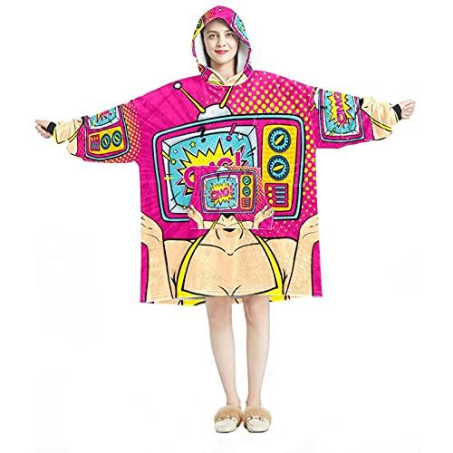 Sudadera con capucha, casual de microfibra suave, camisón cálido para hombres y mujeres con diseños de televisión OMG Sorprised