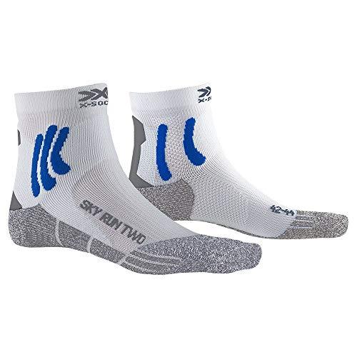X-Socks Sky Run Two Chaussettes de course Blanc/twyce Bleu/gris Melange 2020, Blanc/bleu/gris mélangé, 42