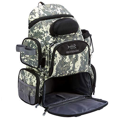 Bassdash Angelausrüstungs-Rucksack, wasserabweisend, leicht, taktische Tasche, weiche Angelbox mit Rutenhalter und schützender Regenhülle (Dschungel-Camouflage-Rucksack [3600] ohne Ablagen)