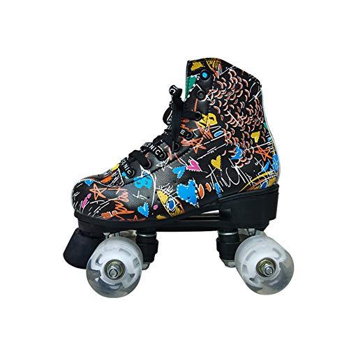 Meisjes Rolschaatsen Jongen Met Een Slijtvaste Belt PU Wheel Mannen Four Wheel Skates Ademende Voering Quad Skates,Black,44