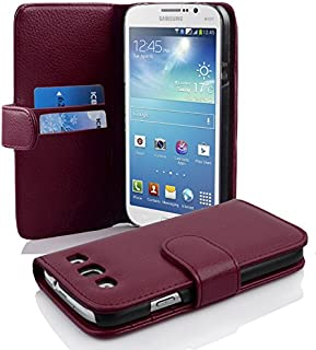 Cadorabo Case Works with Samsung Galaxy MEGA 5.8 in Pastel Purple (Design Book Structure) – with 2 Card Slots – Wallet Case Etui Cover Pouch PU Leather Flip