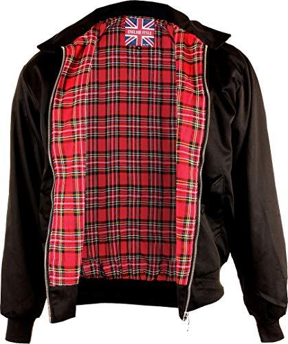 Mil-Tec Herren Knightsbridge Harrington English Style Jacke schwarz mit kariertem Innenfutter, XXL