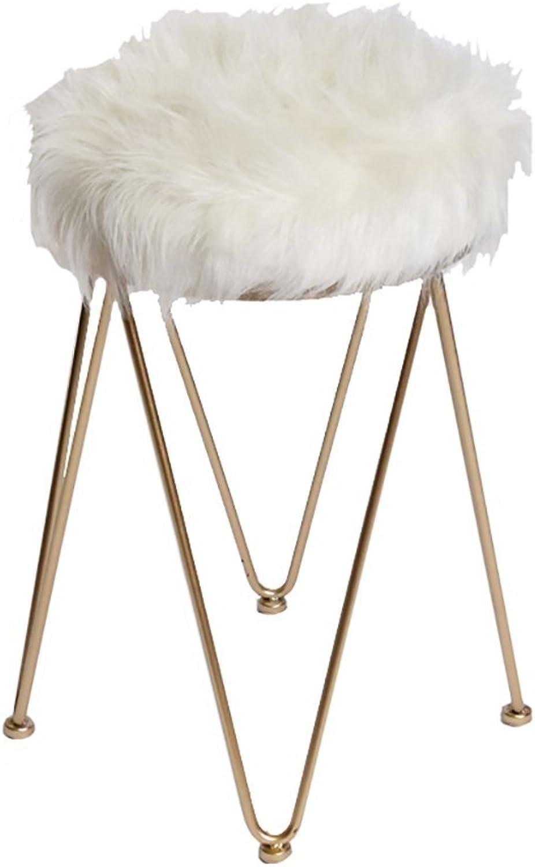 AIDELAI Bar Stool Chair- Nordic Make-up Stool Modern Minimalist Fashion White Hairy Dresser Stool European-Style Makeup Stool Saddle Seat