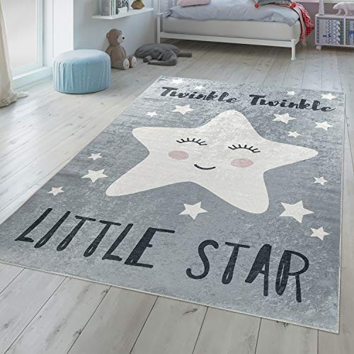 TT Home Alfombra Infantil Moderna Lavable Estrella Dormida Frase Bonita En Gris Y Blanco, Größe:80x150 cm