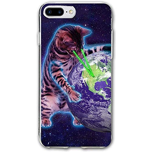 Gustave Tomlinson Kompatibel für iPhone 7 Plus / 8 Plus Hülle Space Cat mit Augenlaser Stoßfest Anti-Fingerprint Kratzfest
