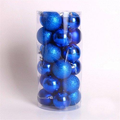 LUOEM Weihnachtsbaum Anhänger Kugeln Ornament bruchsicher Weihnachten Kugeln Dekoration Pack von 24 (blau)