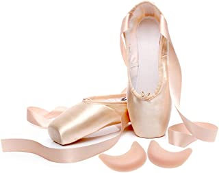 IJONDA Ballet Slippers Dance Shoes Practicing Ballet Shoes Pink Ballet Pointe Shoes with Toe Pad Protector for Girls Women