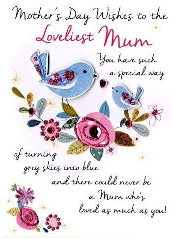 Mother's Day Wishes to the Loveliest Mum With Birds & Embellishments