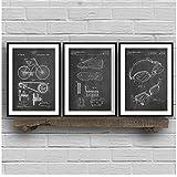 YANGMENGDAN Imprimir en Lienzo Triathlon Art Patent Group Carteles e Impresiones, Triatlón Ciclismo...