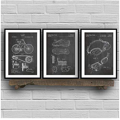 YANGMENGDAN Druck auf Leinwand Triathlon Art Patent Group Poster und Drucke, Triathlon Cycling Gifts Zeichnung Leinwand Gemälde Bilder für Home Wall Art Decor 60x90cm x3pcs Kein Rahmen