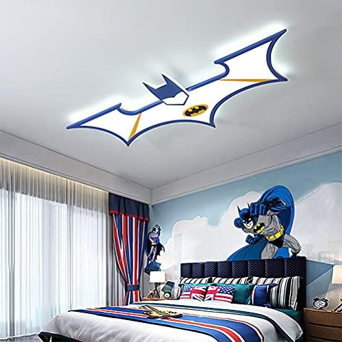 Lámpara de techo habitación de niños LED modernos Luz de techo diseño de Batman Lámpara dormitorio infantil Regulable con candelabro de control remoto Lámpara de protección ocular para niños,Azul