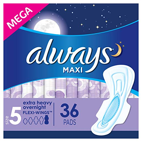 Always Maxi Feminine Pads for Women, Size 5, Extra Heavy Overnight Absorbency, with Wings, Unscented, 36 Count, Pack of 4 (Package May Vary)