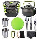 WSYW Juego de utensilios de cocina para camping, 10 piezas, sartén y tetera plegable con asa de aleación de aluminio ligera,portátil, respetuoso con el medio ambiente,para camping,picnic,color verde