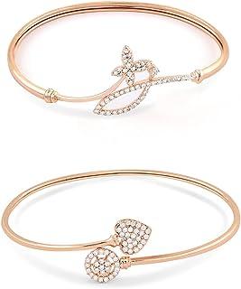 Zaveri Pearls Set of 2 Rose Gold Contemporary Cubic Zirconia Brass Kada Style Bracelet For Women-ZPFK11103