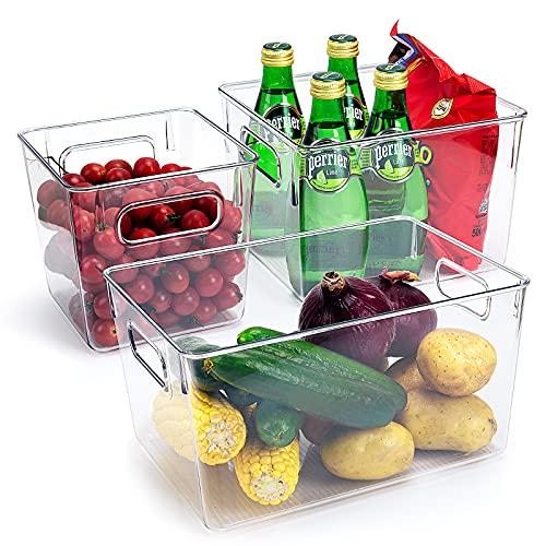 Juego de 3 organizadores para frigorífico, Caja de almacenamiento para frigorífico con asas, organización de despensa transparente, contenedor almacenamiento de espacio para cocinas, armarios, sin BPA