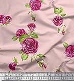 Soimoi Rosa Satin Seide Stoff Blätter & Rosa Rose Blume