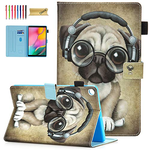 Dteck Cover for Samsung Galaxy Tab A 10.1 Case 2019, Tablet Case for Samsung Tab A 10.1' SM-T510 Case, Premium Leather Multi Angle Stand Cover with Card Slots/Pencil Holder, Glasses Dog
