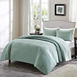 Comfort Spaces Kienna Quilt Coverlet Bedspread Ultra Soft Hypoallergenic All Season Lightweight Filling Stitched Bedding Set, Twin/Twin XL 66'x90', Seafoam