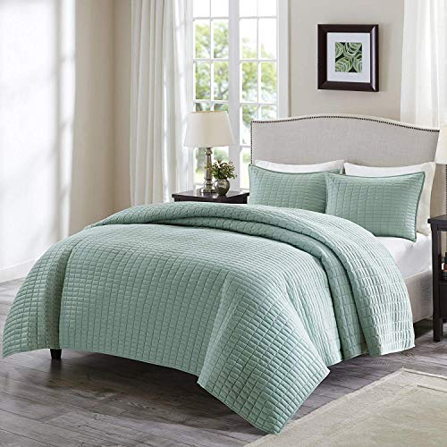 Comfort Spaces Kienna Quilt Coverlet Bedspread Ultra Soft Hypoallergenic All Season Lightweight Filling Stitched Bedding Set, Full/Queen 90'x90', Seafoam