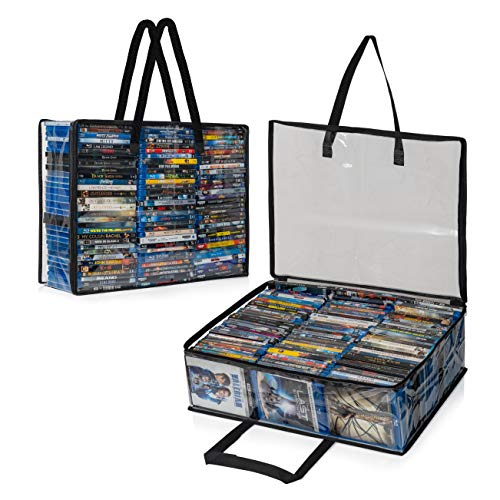 Besti Blu Ray Case Holder Organizer, Set of 2 Clear Plastic Bags with Handles for Storing Blurays, DVDs, CDs, Storage Bags for Video Game Cases, Holds Up to 90 Bluray and 60 DVD Cases
