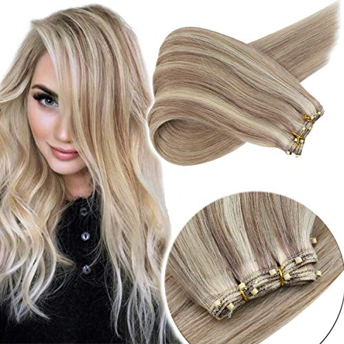 Sunny 100% Real Hair Extensions Sew in with Micro Beads Weft Human Hair 20inch Ash Blonde Highlights Platinum Blonde Weft Extensions Human Hair 12inch Width 50g