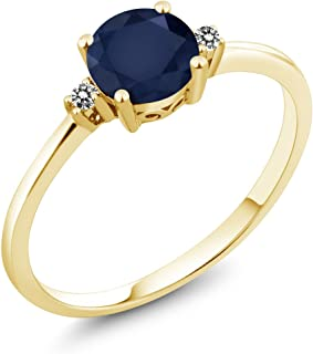 Gem Stone King 10K Yellow Gold Engagement Solitaire Ring set with 1.03 Ct Round Blue Sapphire and White Diamonds (Available 5,6,7,8,9)