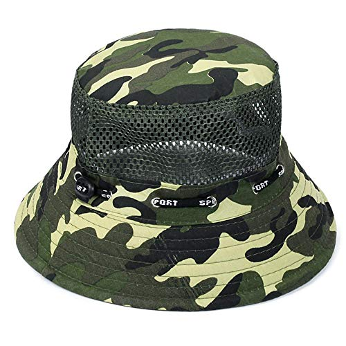 FASDFE Fisherman Hat Sun Hat Men's Camouflage Hat Outdoor Mountaineering Cap Leisure Sun Hat Suitable for Tourist Mountaineering Shopping Fishing