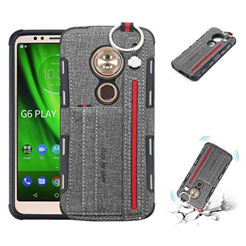 PROTECTIVECOVER+ Compatible with for MOTOROLA Moto G6 Play Texture de tissu + TPU Cas de protection antichoc avec bague en métal &porte-carte et bandes de suspension / , Étui de téléphone portable élé