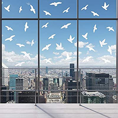 200 Pieces Anti-Collision Window Clings Static Birds Stickers Bird Alert Window Stickers Silhouettes Vinyl Decals to Save Birds