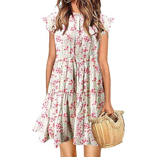 Vestido de verano para mujer con estampado de flores, para el tiempo libre, holgado, largo hasta la rodilla, estilo retro, boho, color azul, rojo, blanco, negro, rosa, S – XXL Blanco XL