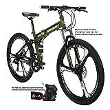 Eurobike HY G4 Folding Bike 21 Speed 26 Inches 3 Spoke Wheel Dual Suspension Folding Mountain Bike Green