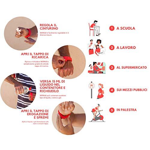 Will Well Bracciale Contenitore Dispencer Gel Igienizzante Disinfettante per Le Mani da Polso Ricaricabile Lavabile 15ml in Silicone (Rosso)