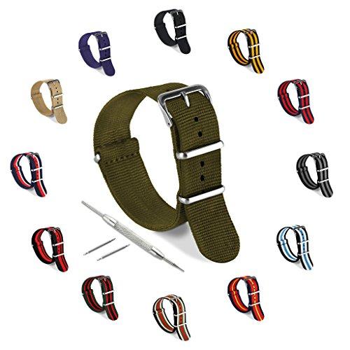 Reloj banda, correa de nylon de la OTAN–para todos los dispositivos de reloj, Fitness, biseles, (18mm, 20mm, 22mm, 24mm) por United Watchbands