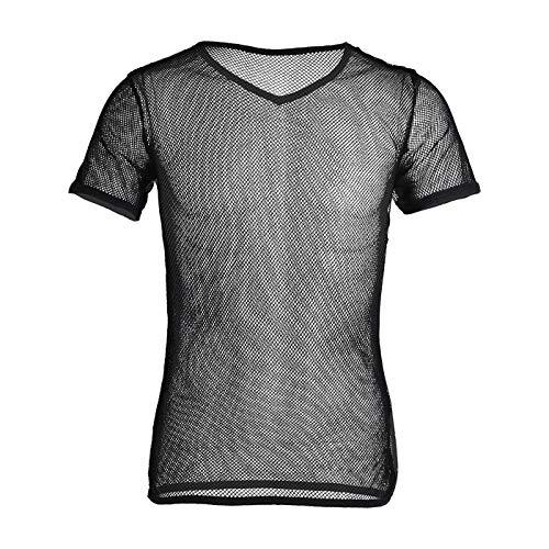 YiZYiF Herren Unterhemd aus Mesh Transparent Unterwäsche Muskelshirt Stretch T-Shirt Tops Clubwear M-3XL (Schwarz, XL)