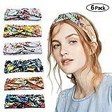 6PCS Mujer Diademas Boho Vintage Elástica Cintas para el Pelo, Lazos Pelo Niña Turbantes para Mujer Cabello Hair Band Accesorios Yoga Cabeza Wraps