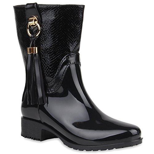 Damen Stiefeletten Gummistiefel Lack Stiefel Boots Quasten Regen Profilsohle Gummistiefeletten Allyear Schuhe 105671 Schwarz Fransen 37 Flandell