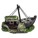 Jroyseter Acuario Barco Paisaje Pescado ejecución Exquisita Resina naufragio Decoración Adornos Mini Nave por un Acuario de exhibición Utensilios Decoraciones caseras (B)