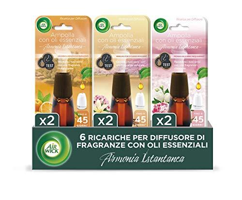 Airwick Diffusore Di Fragranza Con Oli Essenziali, 6 Ricariche Miste, 2 Peonia e Gelsomino, 2 Mandarino e Arancia Dolce, 2...