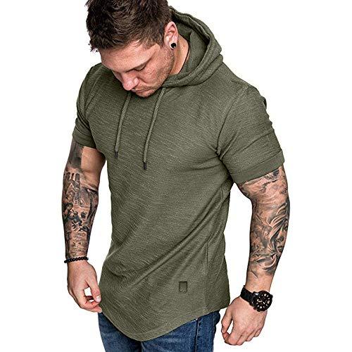 HUAZONG Chemise en lin pour homme col en V décontracté à manches courtes sans col et fermeture éclair en coton Coupe ample Henley Vert Taille S