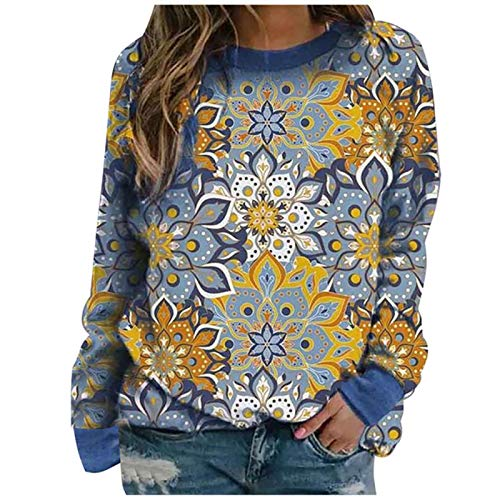 WYZTLNMA Sweatshirt Women Tops Fashion Long Sleeve Flower Print O-Neck Sweatershirt Shirt Tops Autumn Winter Clothes Women Sweatshirt