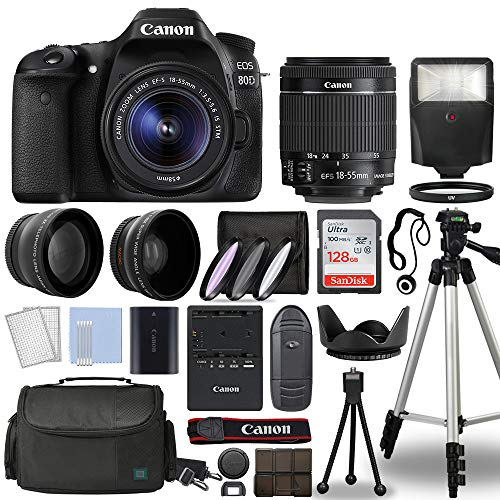 Canon EOS 80D Digital SLR Camera Body with Canon EF-S 18-55mm f 3.5-5.6 is STM Lens 3 Lens DSLR Kit Bundled with Complete Accessory Bundle + 128GB + Flash + Case Bag & More - International Model