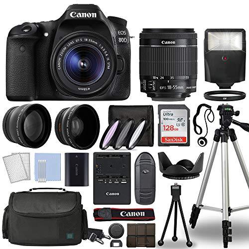 Canon EOS 80D Digital SLR Camera Body with Canon EF-S 18-55mm f/3.5-5.6 is STM Lens 3 Lens DSLR Kit Bundled with Complete Accessory Bundle + 128GB + Flash + Case/Bag & More - International Model
