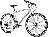 Bici Ibrida Cicli Adriatica Boxter FY da uomo con telaio in alluminio, ruote da 28', cambio Shimano a 21 velocità (Bianco, 50)