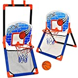 Basketball Hoop for Kids - 2 in 1 Floor and Over The Door Basketball Play Set for Toddlers, Boys and Girls Outdoor and Indoor Sport, Ball Included