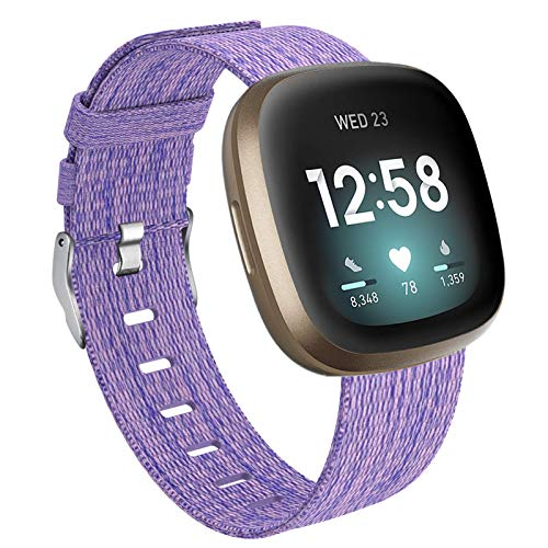 Vitty Bands Compatible with Fitbit Versa 3/Sense for Women and Men, Breathable Woven Fabric Strap, Quick Release, Adjustable Replacement Wristband for Fitbit Versa Smart Watch (Small, Lavender)