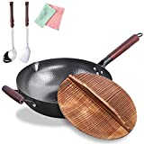Carbon Steel Wok Flat Bottom,Woks and Stir Fry Pans Nonstick with Spatulas & Spoon,Uncoated Cooking...