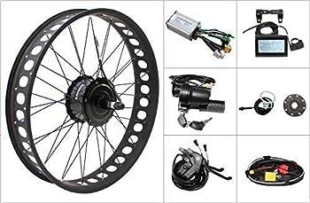 20 /24 /26  48V 500W Electric Bike Fat Tire Conversion Kit 500W Fat Brushless Geared Hub Motor Fat Snow Bike Kit LCD Display  Casstte 20inch 190mm