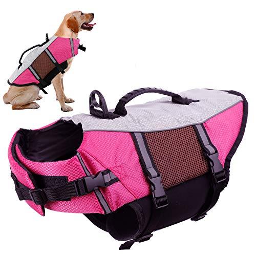 Dog Life Vest Jacket for Swimming Kayaking Boating Lifesaver Coat for Small Medium Large Pet Swimsuit Preserver Flotation Device Reflective Adjustable High Visibility Quick Release Ripstop Lifevest